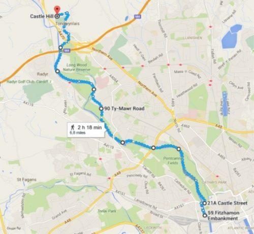 Taff River Trail Cardiff Castle to Coch Castle