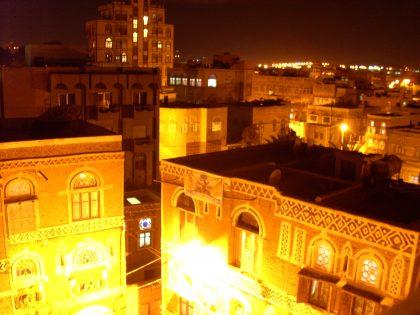 Blick aus meinem neuen zu Hause: Sana'a bei Nacht